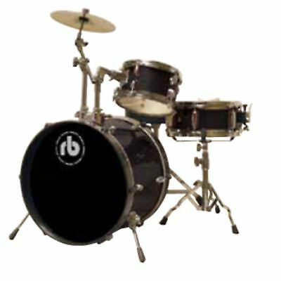 RB 3-Piece Junior Drum Kit with Cymbal, Hardware & Throne Black RB-JR3-BK