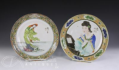 Very Unusual Pair Of Antique Chinese Porcelain Plates W Figures + Writing