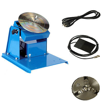 "110V/220V Rotary Welding Positioner Turntable Table Mini 2.5"" 3 Jaw Lathe Chuck"