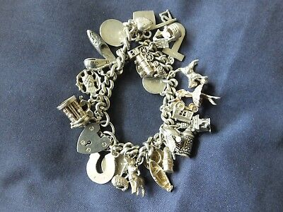 Vintage Heavy Sterling Silver Curb Link Charm Bracelet - 26 Charms - 79.4g