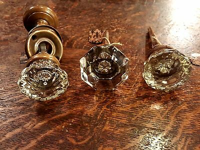 3 Antique Vintage Glass & Brass Door Knobs handle pulls