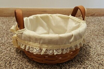 "Longaberger Basket 1991 6"" Small Round With Leather Handles & Cloth Ruffle Liner"