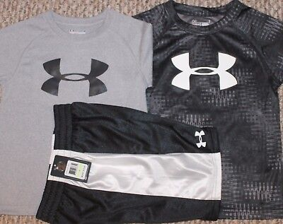 New! Boys Under Armour Summer 3 pc Lot/Outfit (2 Shirts, Shorts) - Size 4