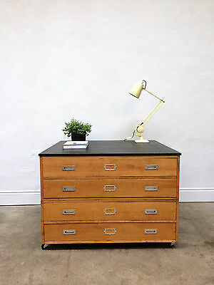 Vintage 1960s Birch A1 Plan Chest. Map Drawers. Retro Industrial Architects
