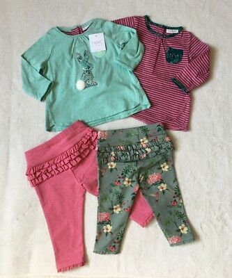 ***BNWT Next baby girl Bunny pink/Green 2 tops and 2 leggings set 3-6 months***