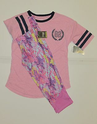 Danskin Now L 10 12 Pink Ringer T Shirt & Snake Print Capri Outfit Girls New