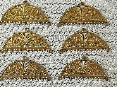 6 Vtg Antique Old Brass 34x14mm Art Nouveau 3 hole Jewelry Dangles Findings NOS