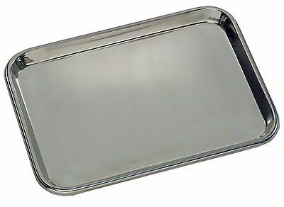 "Grafco 3261 Flat Type Instrument Tray, Stainless Steel, 13-5/8"" x 9-3/4"" x 5/8"""