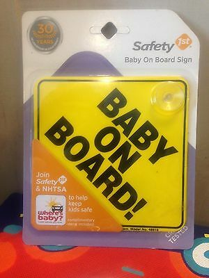 New/Sealed - Safety 1st BABY ON BOARD Sign w/ Window Decal