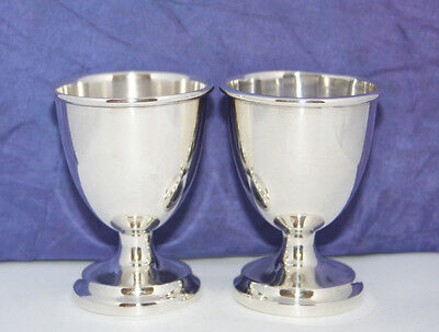 PAIR OF SOLID SILVER EGG CUPS by JOSEPH GLOSTER~B'HAM 1944