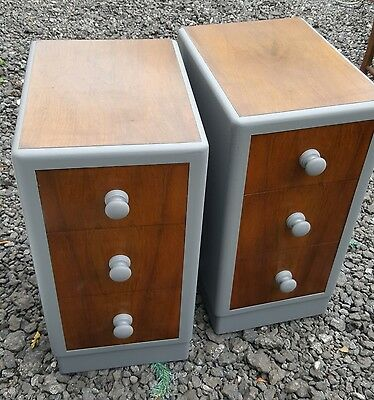 pair of art deco upcycled bedside cabinets