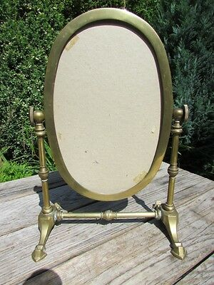 Vintage Antique Brass Free Standing Oval Vanity Swivel Mirror (Missing Glass)
