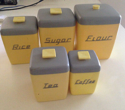 Retro Nally Ware Canisters 5 Pce Yellow Grey - 1950's - Stackable