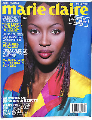 April 1993 Marie Claire Fashion Style Magazine 90s British UK Naomi Campbell