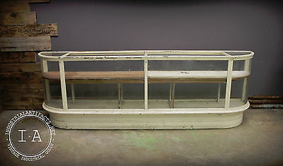 Antique Curved Glass Display Case Mercantile Counter