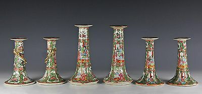 Nice Lot Of 6 Antique Chinese Rose Medallion Candles Candlesticks - 3 Pairs