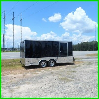 2' v 8.5x16 car motorcycle enclosed carhauler toy hauler cargo trailer Black new