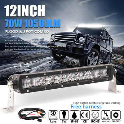 5D+ 12inch OSRAM 70W LED Light Bar Flood Spot Combo Single Row Offroad Suv slim