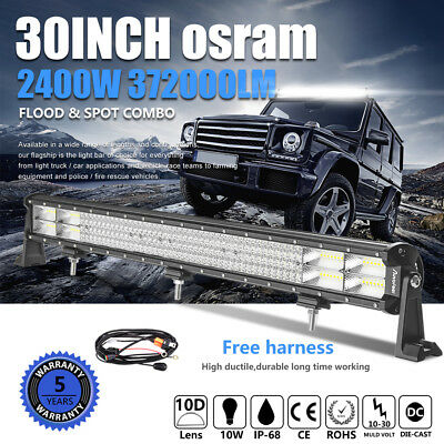 "30inch / 32"" 2400W 4ROWS LED LIGHT BAR Spot Flood Combo For Jeep 4WD DRIVING SUV"