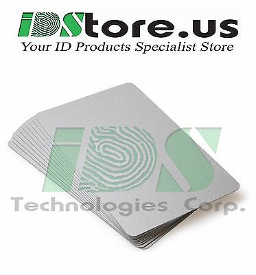 100 Silver Blank PVC Cards, CR80, 30 Mil, Graphics Quality, Credit Card size
