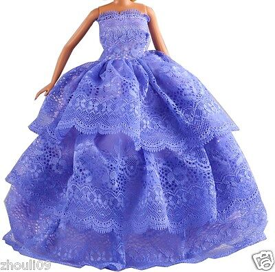 Handwork soft Princess Party Dress/Evening Clothes/Gown For Barbie Doll  1088