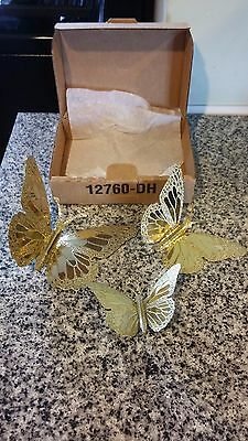 NEW! Homco Home Interiors and Gifts Monarch Brass Butterfly Plaques 3 with Box