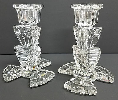 Vintage 1940's Crystal / Glass Candle Stick Holders RARE / Unusual