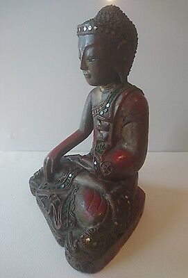 Asian Lacquer & Gilt Carved Wooden Sitting Buddha