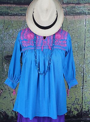 Pink & Turquoise Hand Embroidered Blouse Chiapas Mexico Hippie Santa Fe Cowgirl