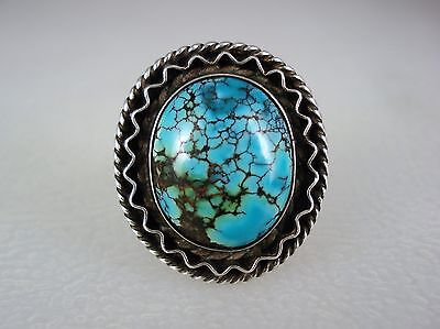 OLD NAVAJO STERLING SILVER & INCREDIBLE SPIDERWEBBED TURQUOISE RING sz 6.5