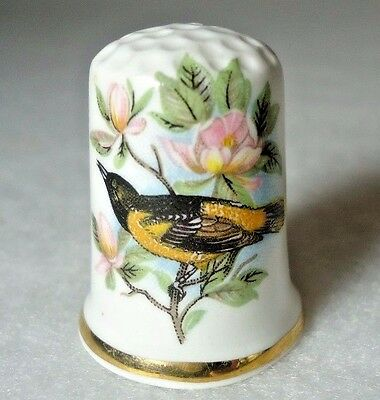 Vintage Bone China Made in England Bird in Flowers Sewing Thimble Gold Trim