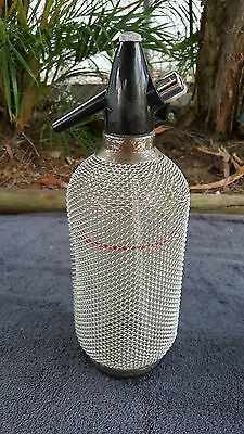 Vintage Silver Mesh Covered Soda Syphon