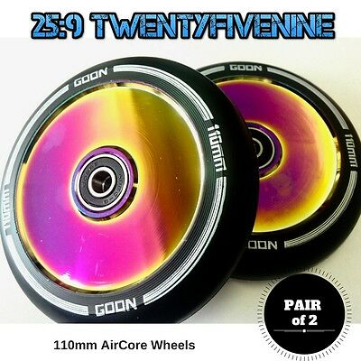 2 x GOON Scooters 110mm AirCore Scooter Wheels BLACK / OIL SLICK RAINBOW