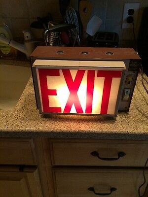 Antique Vintage Metal Plastic Wall Mount Exit Sign Hinged Door Light Fixture Red