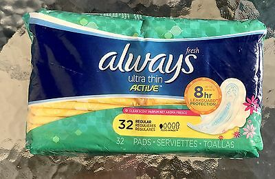 New Always Fresh Ultra Thin Regular Pads With Flexi-Wings Clean Scent 32 Each
