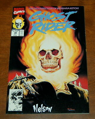 1991 Marvel Ghost Rider #18 Flame Head Cover Signed By Nelson Nm- 9.2