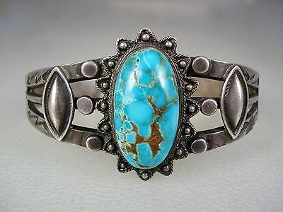 Fabulous Old Navajo Stamped Sterling Silver & Spiderwebbed Turquoise Bracelet