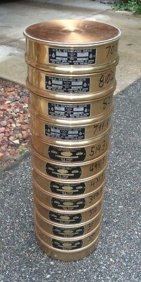 """8"""" Sieve Collection, 4 Humboldt & 7 W.S. Tyler, Ranging From 75mm to 75um"""