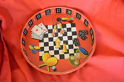 ROULETTE WHEEL SERVING TRAY VINTAGE 1960s NICE-CONDITION GAMBLING TIN