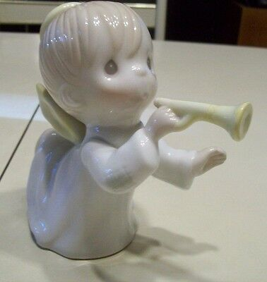 Precious Moments Large Angel W/ Horn Shiny White 1991 Christmas