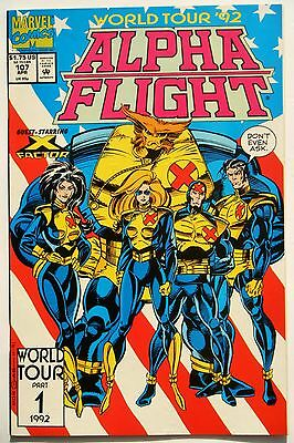 Alpha Flight #107 (Apr. 92') NM (9.4) World Tour 92' Part 1 (of 3) X-Factor App.