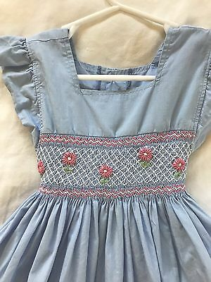 Vintage 50s 60's cotton Flutter Sleeve Pinafore Hand Smocked Dress Girls 2 2T