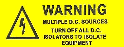 3 x Warning Multiple DC Sources Yellow Solar Label