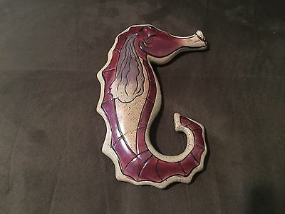 Heather Goldminc Blue Sky Clayworks Seahorse Wall Plaque
