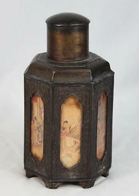 Antique Chinese Tin Tea Caddy Marked