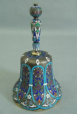 Antique Russian silver gilt bell with multicolored cloisonné enamel hallmarked