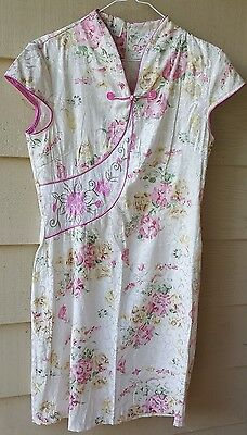 TANG YI Traditional Cheongsam Floral Pink Chinese Dress Size 42