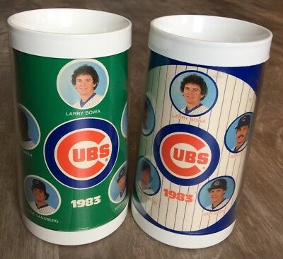 LOT OF 2 Vintage Thermo-Serv Chicago Cubs 1983 Insulated Beer Cup Mug USA