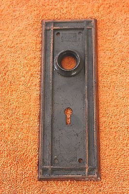 "Antique Stamped Metal Door Knob Back Plate 7 1/4"" x 2 1/2"""