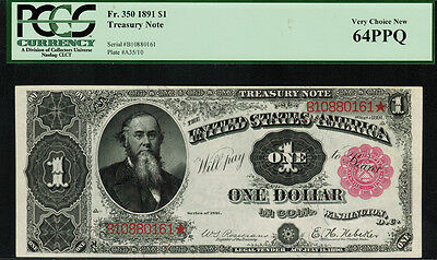 "1891 $1 Treasury Note FR-350 - ""Stanton"" - PCGS 64PPQ - Very Choice New"